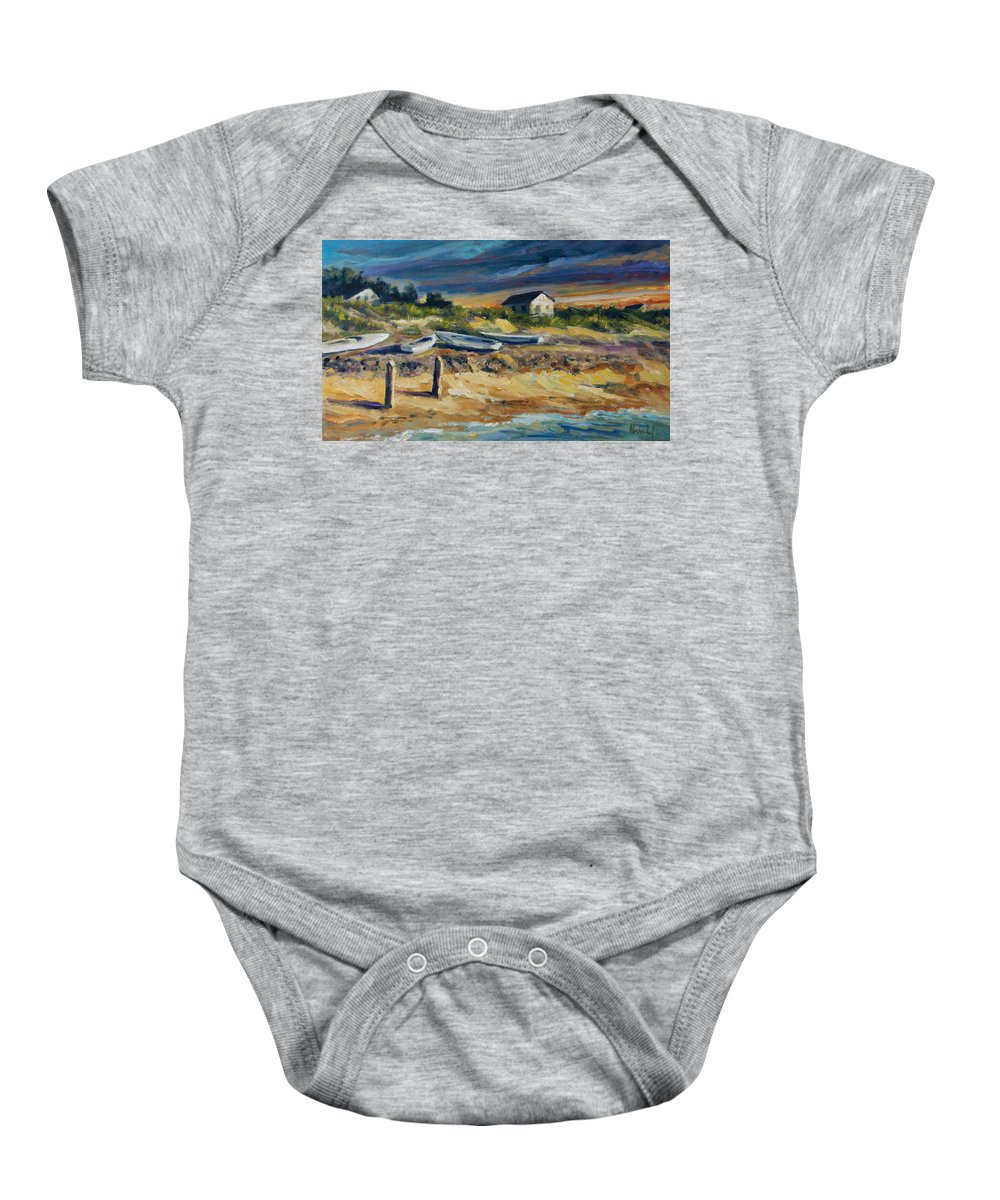 Stormy Clouds Baby Onesie featuring the painting Nantucket by Rick Nederlof