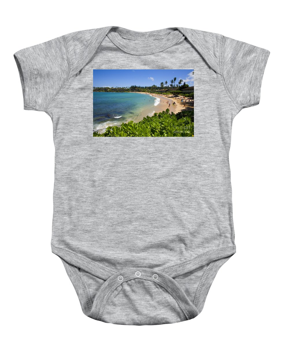 Bay Baby Onesie featuring the photograph Napili Bay With Visitors by Ron Dahlquist - Printscapes