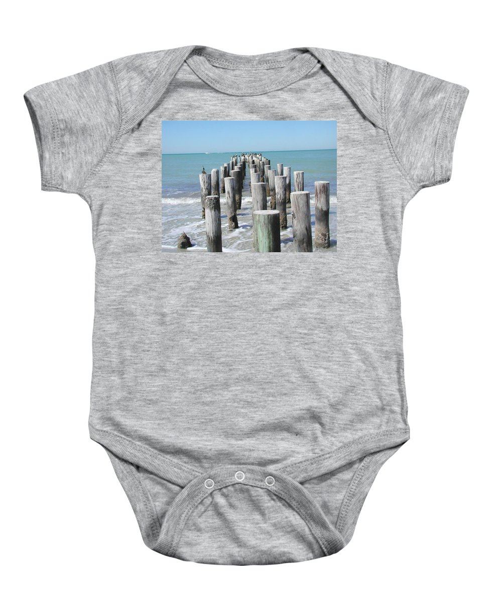 Ocean Baby Onesie featuring the photograph Naples Pier by Tom Reynen