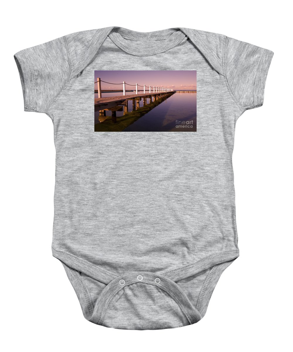 Narrabeen Sydney Sunrise Wharf Walkway Baby Onesie featuring the photograph Narrabeen Sunrise by Sheila Smart Fine Art Photography