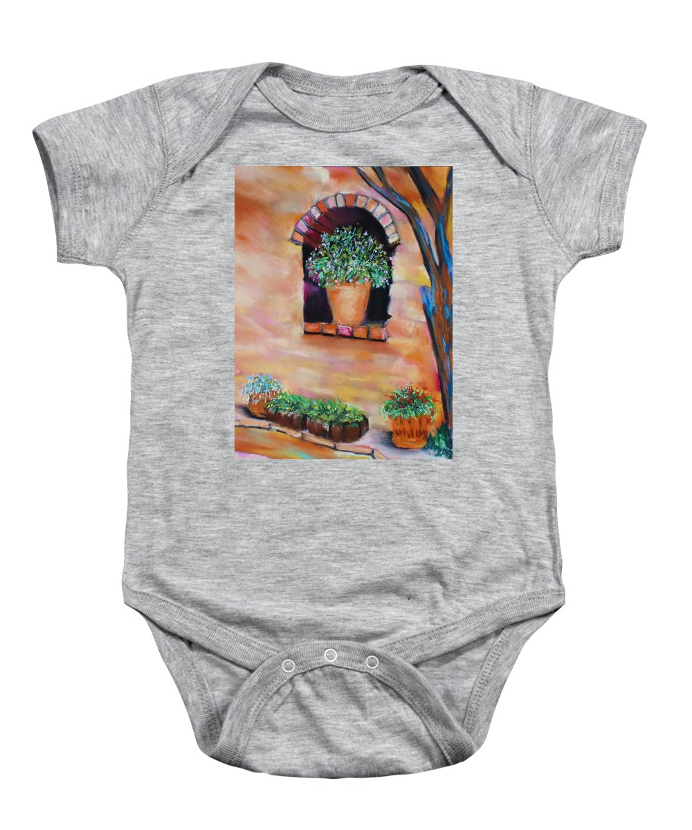 Courtyard Baby Onesie featuring the painting Nash's Courtyard by Melinda Etzold