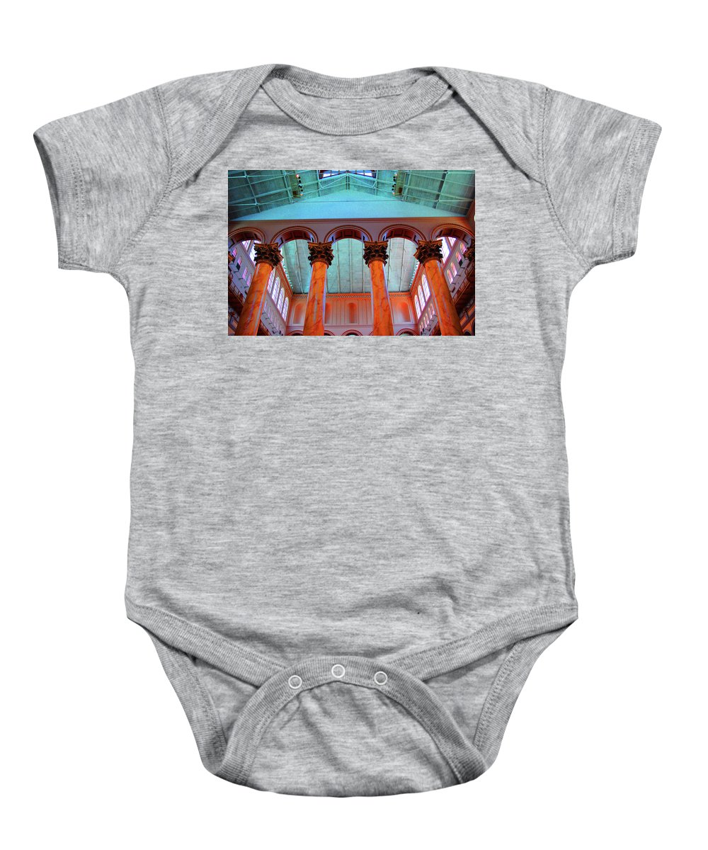 National Baby Onesie featuring the photograph National Column Orange by Jost Houk