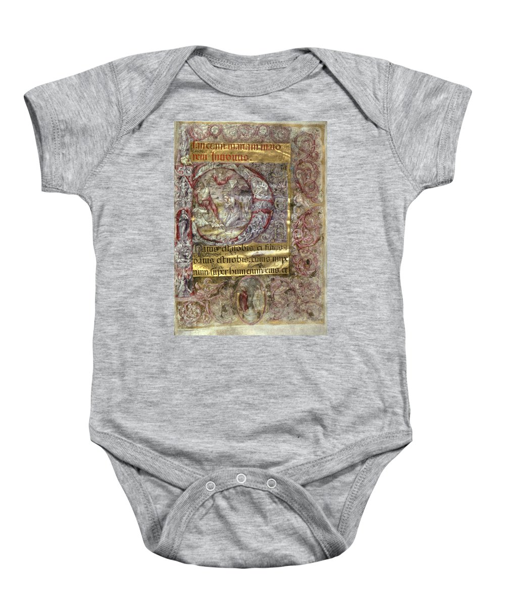 15th Century Baby Onesie featuring the photograph Nativity In An Initial P by Granger
