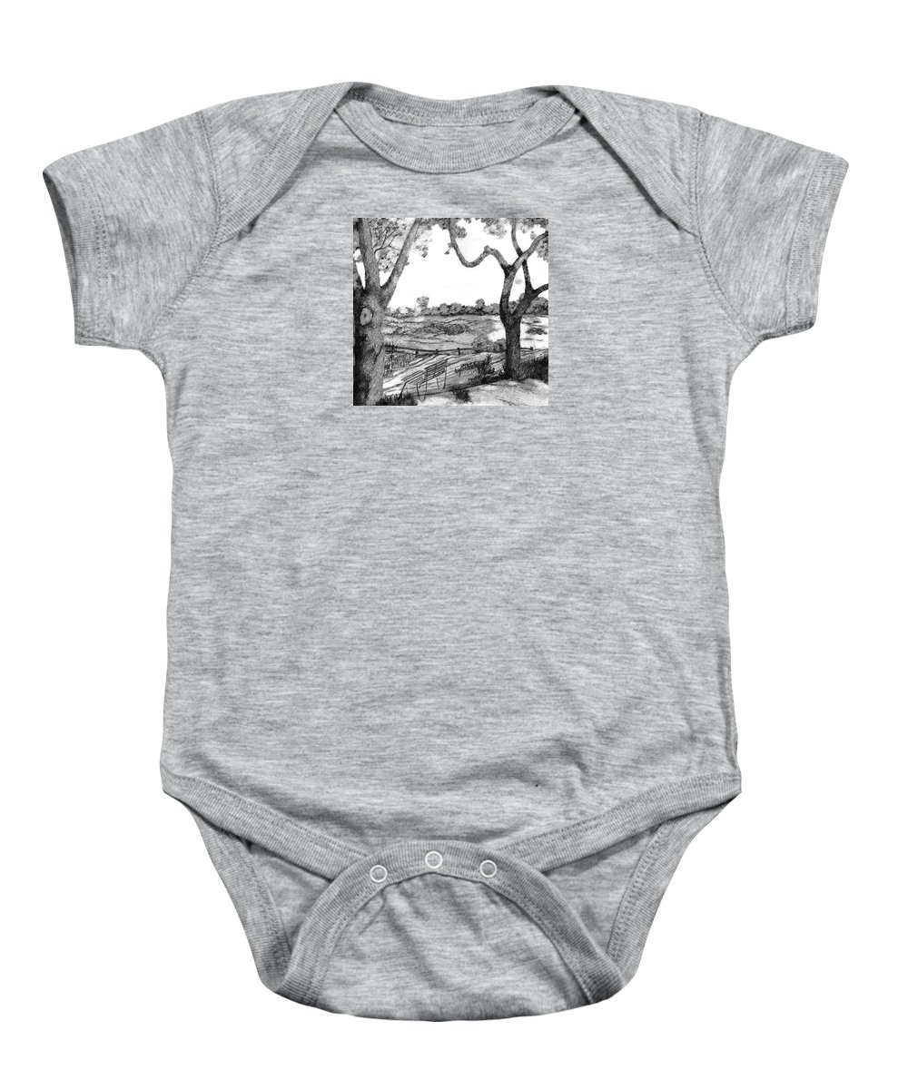 Trees Baby Onesie featuring the drawing Nature Sketch by John Stuart Webbstock