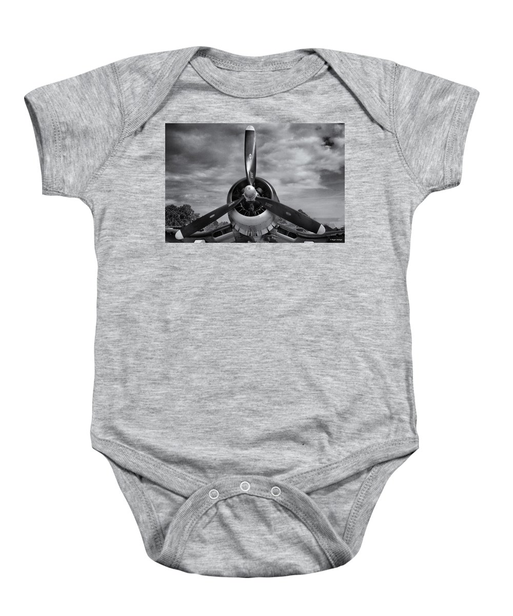 Navy Baby Onesie featuring the photograph Navy Corsair Propeller by Roger Wedegis