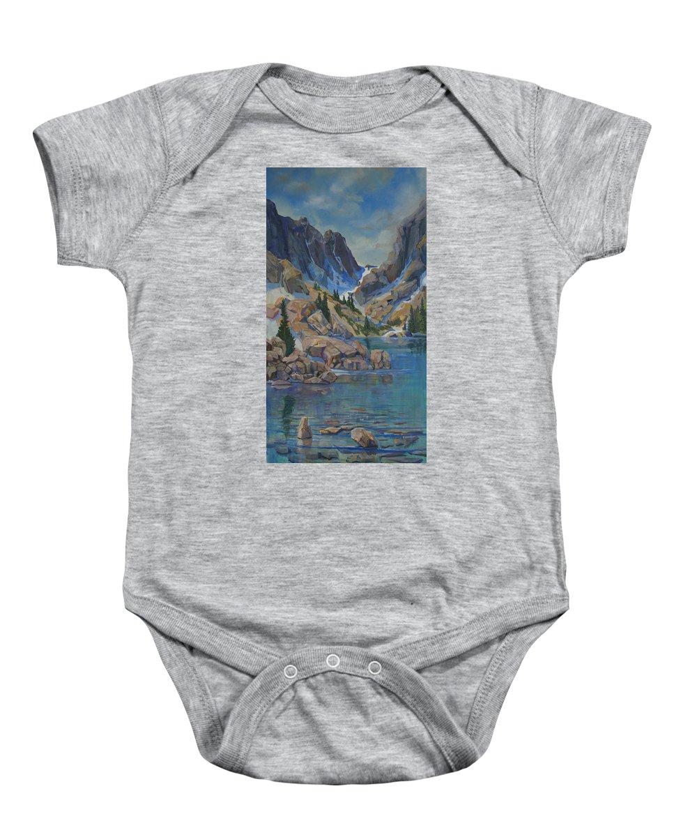 Hayden Spires Baby Onesie featuring the painting Near Hayden Spires by Heather Coen