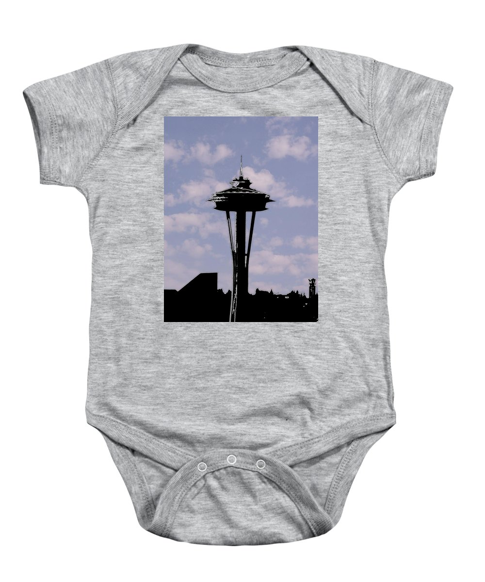 Seattle Baby Onesie featuring the digital art Needle In The Clouds by Tim Allen