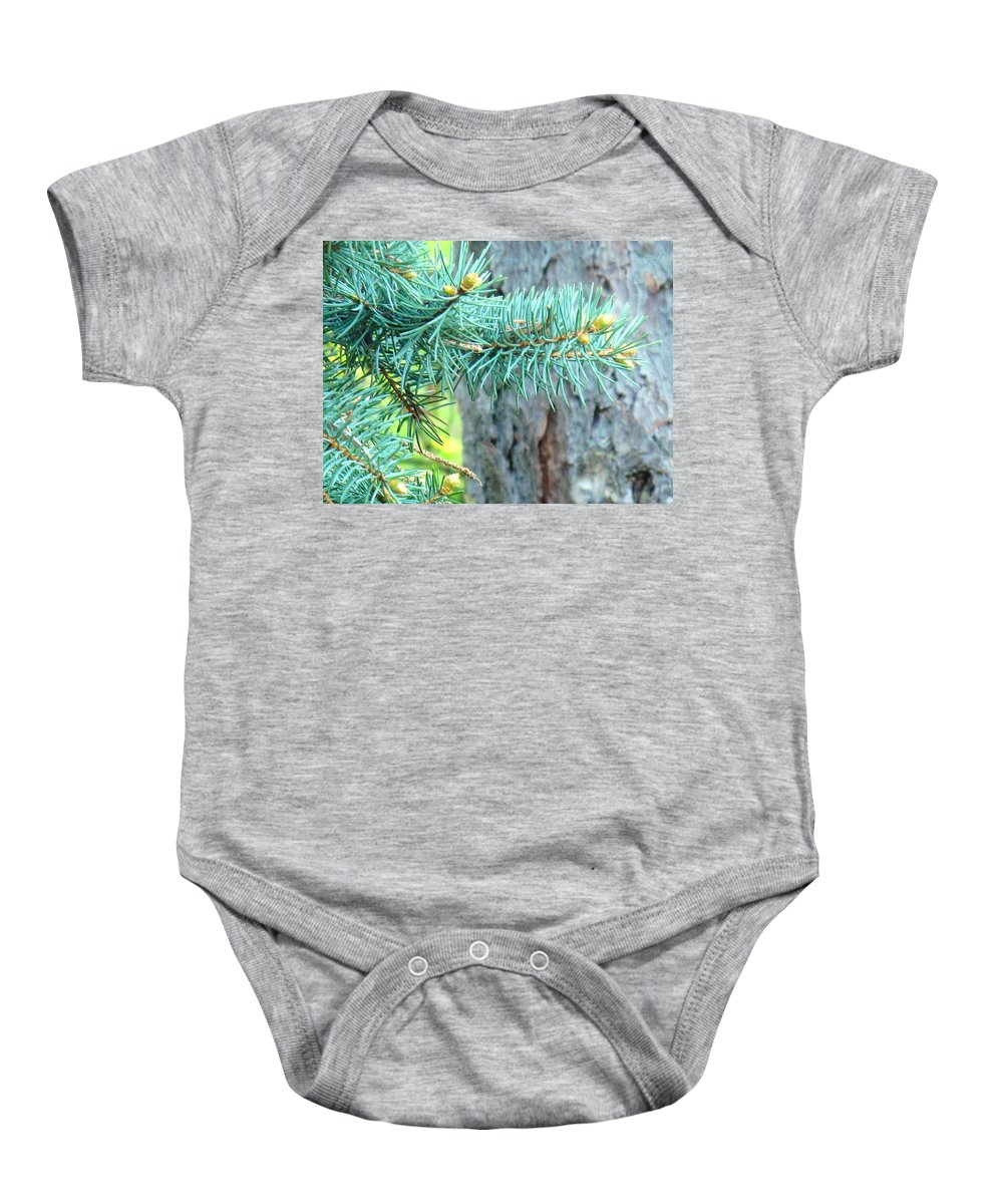 Pine Baby Onesie featuring the photograph Needles by Ian MacDonald