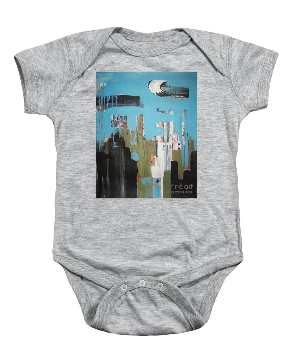 Abstract Paintings Baby Onesie featuring the painting Neglected Area by Seon-Jeong Kim