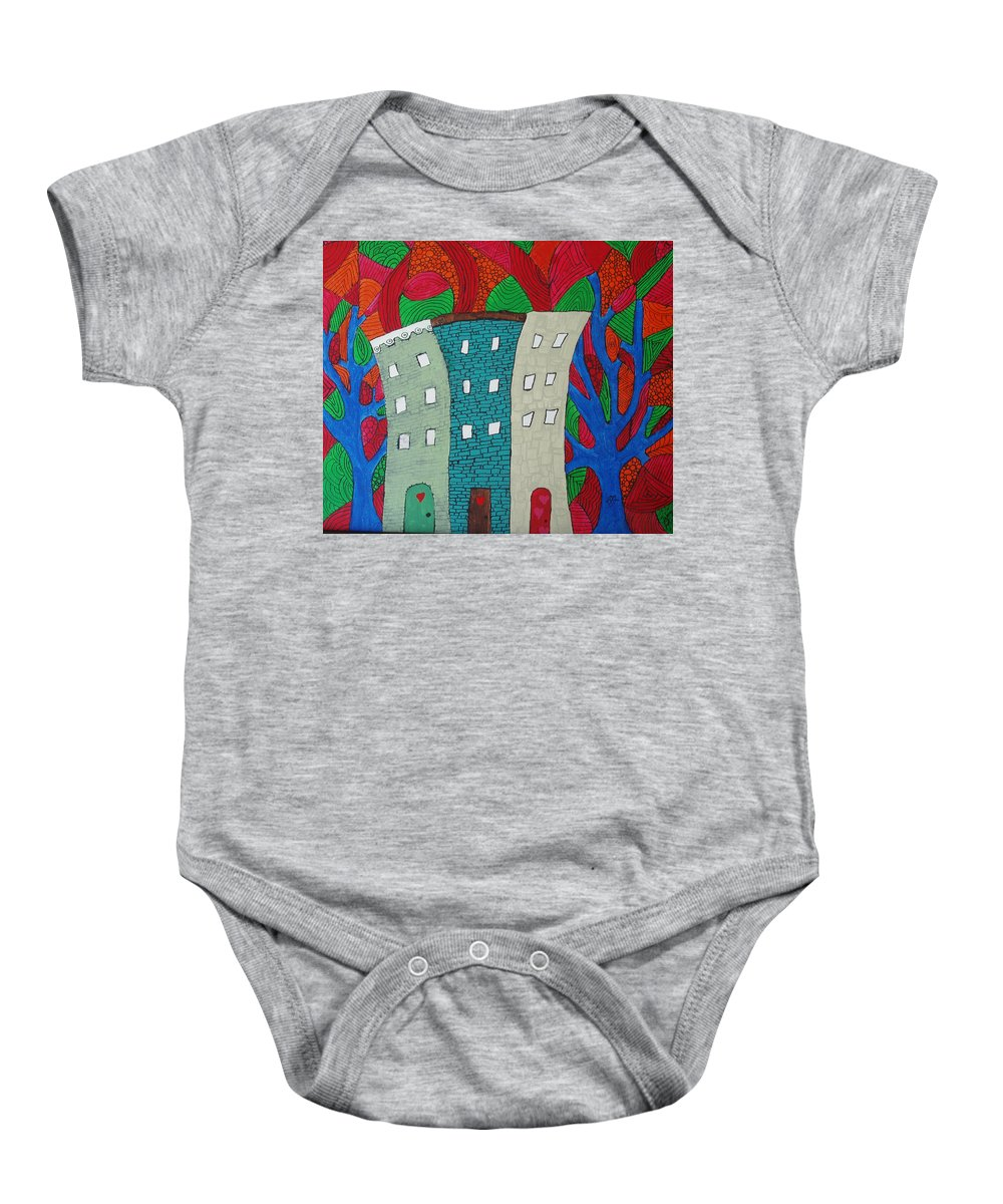 Houses Baby Onesie featuring the painting Neighbors by Wayne Potrafka