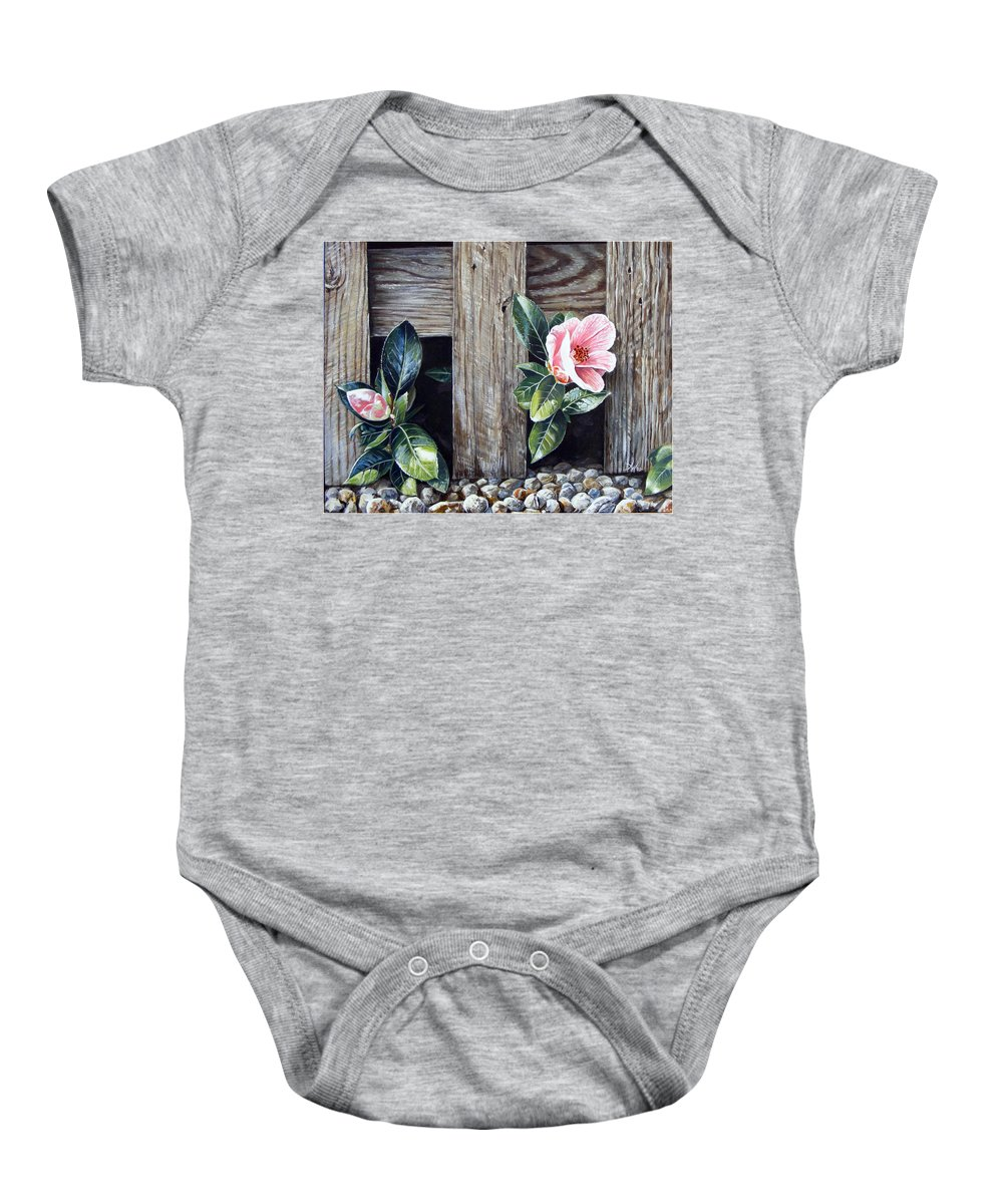 Flower Pink Acrylics Neighbours Fence Wood Leaves Baby Onesie featuring the painting Neighbours by Arie Van der Wijst