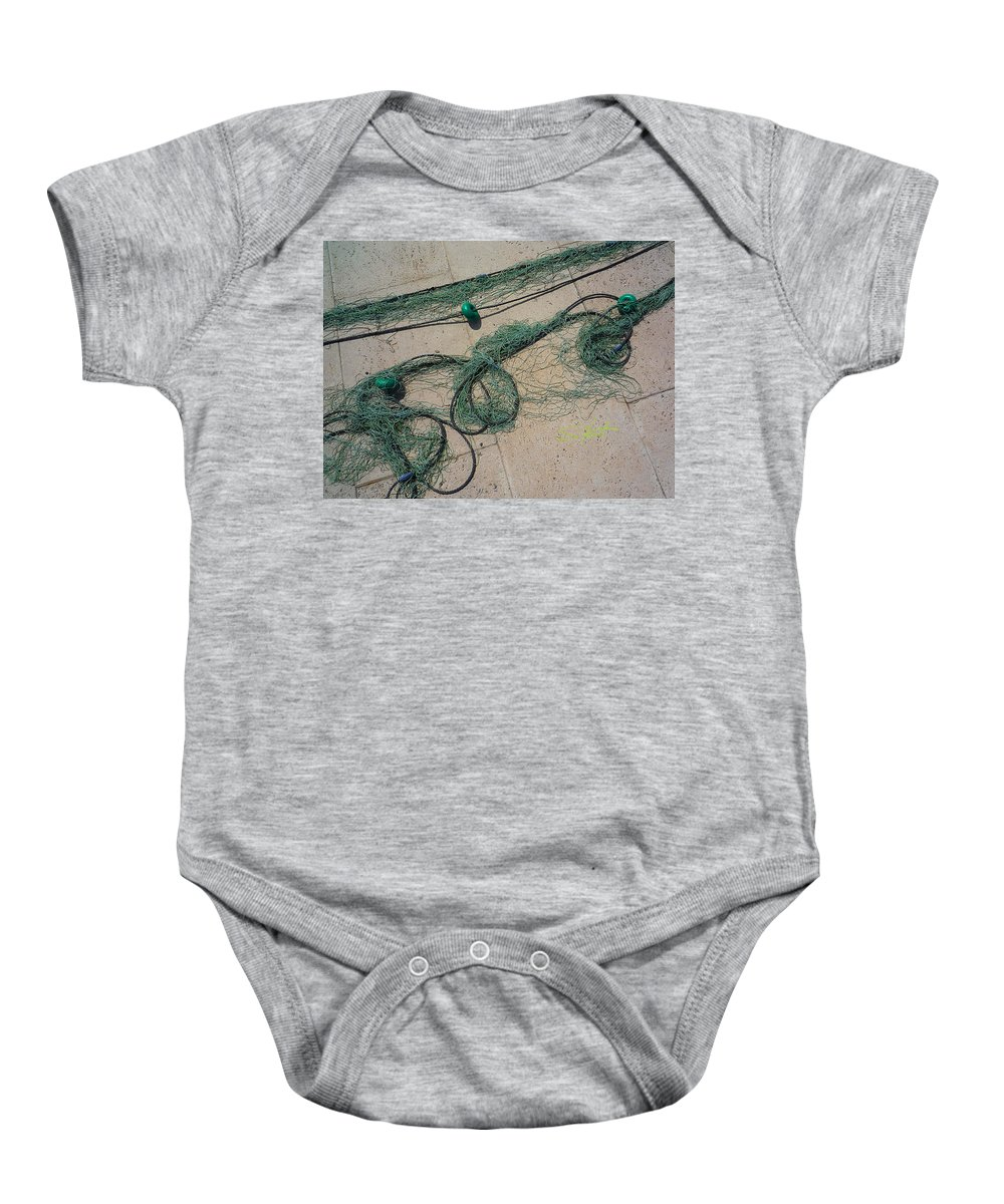 Fishing Net Baby Onesie featuring the photograph Neptune Green by Charles Stuart