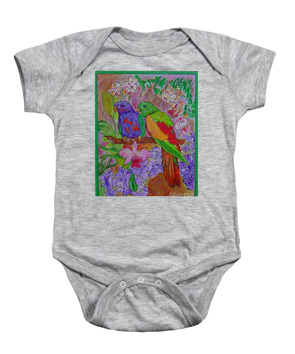 Tropical Pair Birds Parrots Original Illustration Leilaatkinson Baby Onesie featuring the painting Nesting by Leila Atkinson
