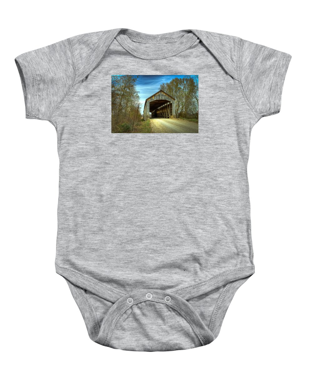 Parke Baby Onesie featuring the photograph Nevins Covered Bridge by Jack R Perry