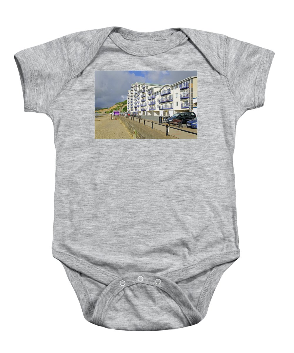 Isle Of Wight Baby Onesie featuring the photograph New Flats Overlooking Sandown Esplanade by Rod Johnson