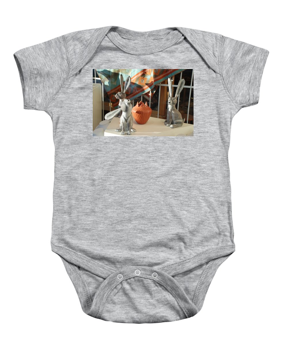 Rabbits Baby Onesie featuring the photograph New Mexico Rabbits by Rob Hans