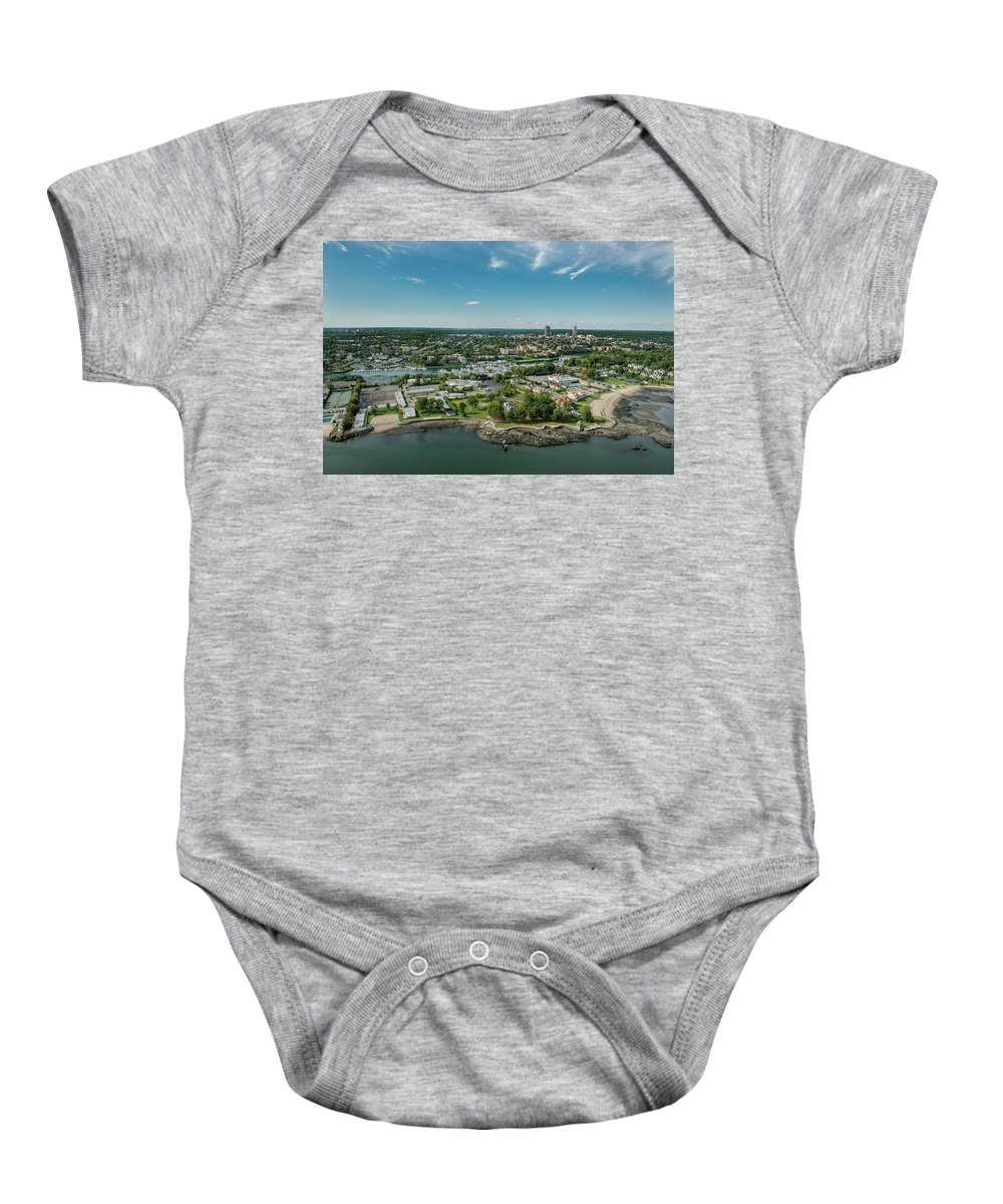 Beach Clubs Baby Onesie featuring the photograph New Rochelle Bech Clubs by Louis Vaccaro