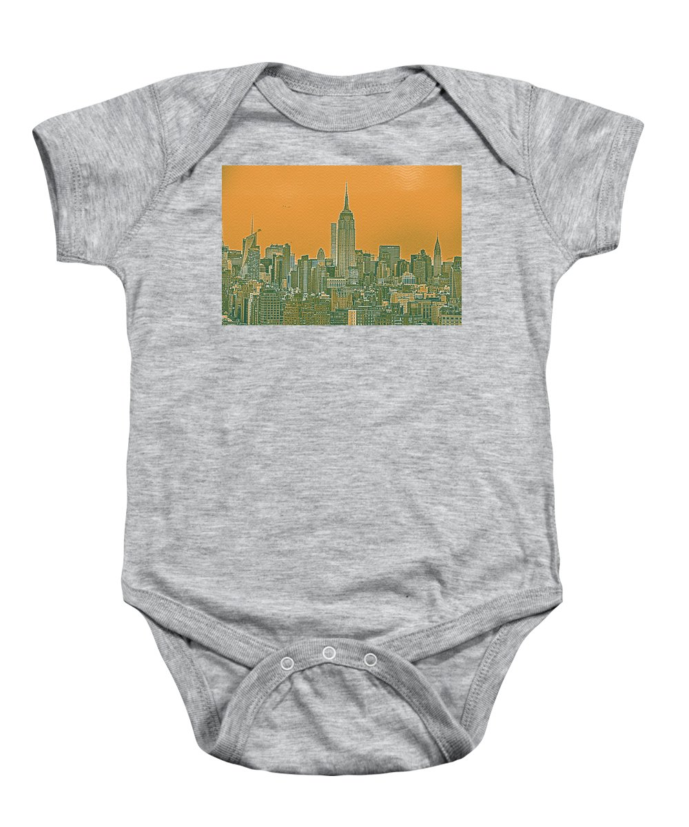 Nature Baby Onesie featuring the painting New Tork City Ny Travel Poster 4 by Celestial Images