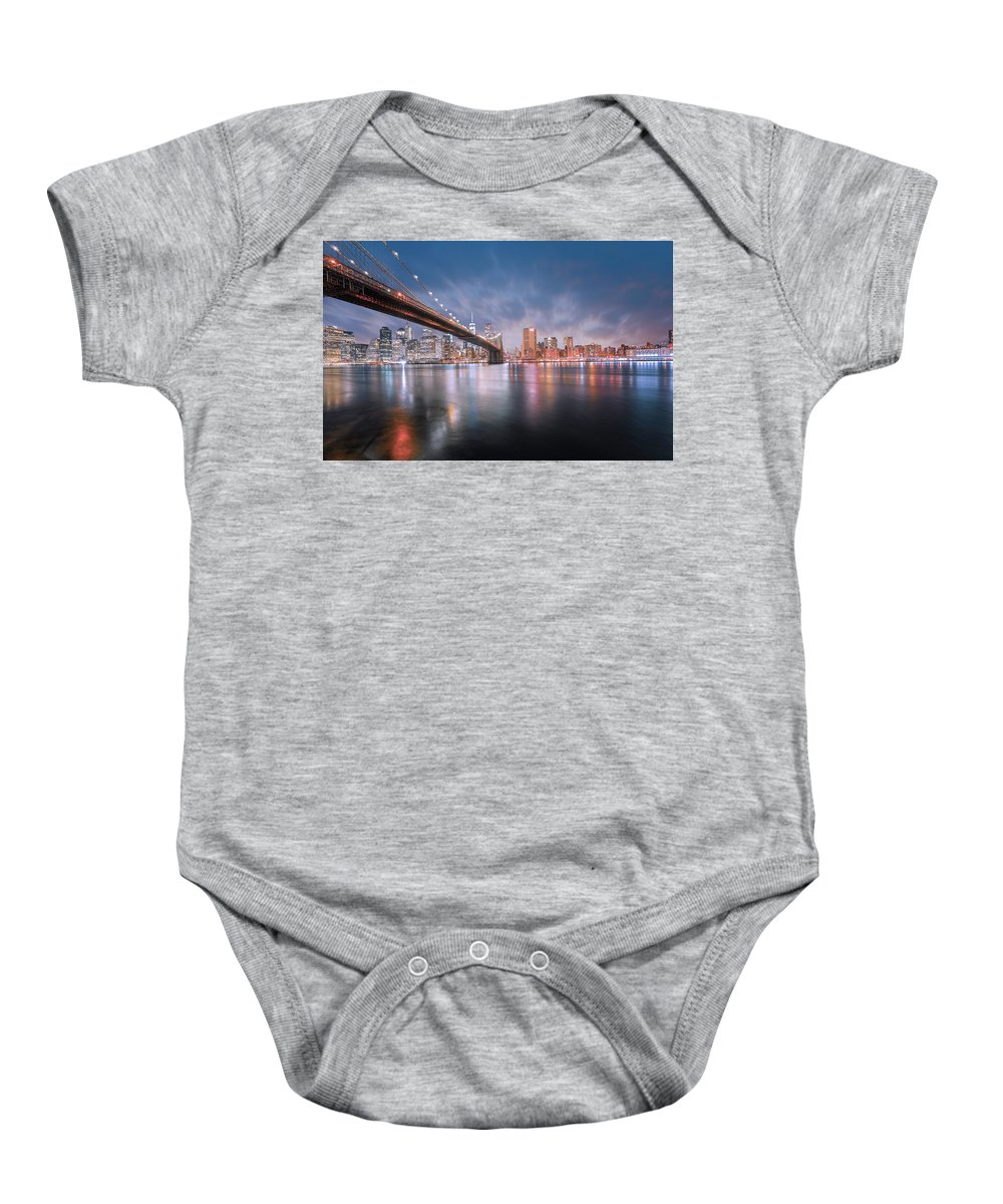 New York Baby Onesie featuring the photograph New York by Jerome Obille