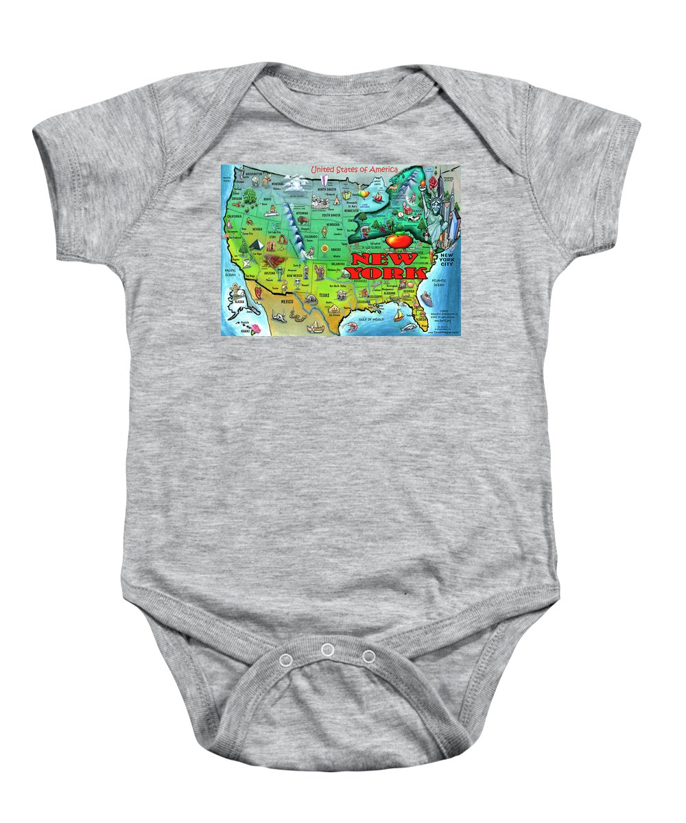 New York Baby Onesie featuring the digital art New York Usa by Kevin Middleton