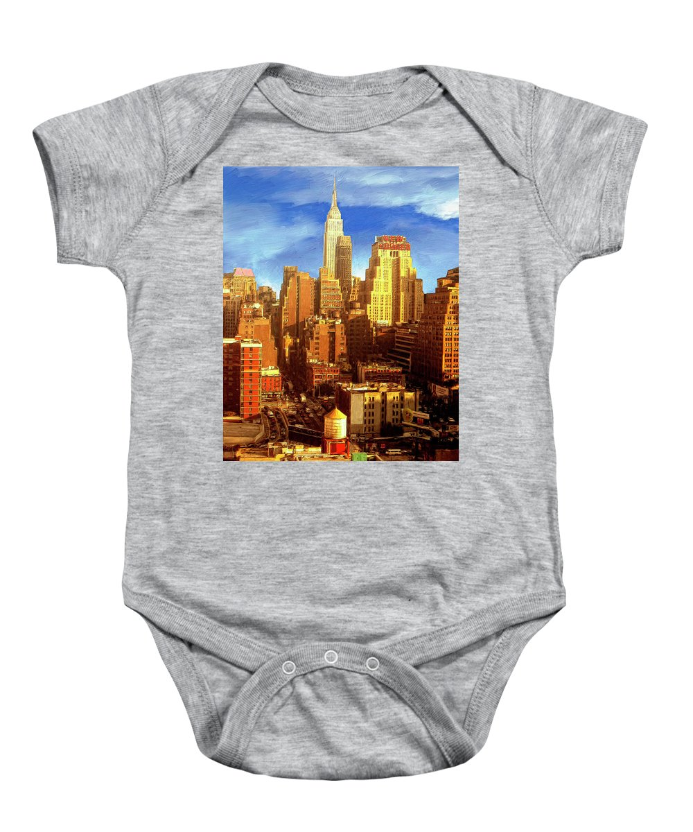 New York Baby Onesie featuring the painting New Yorker by Dominic Piperata