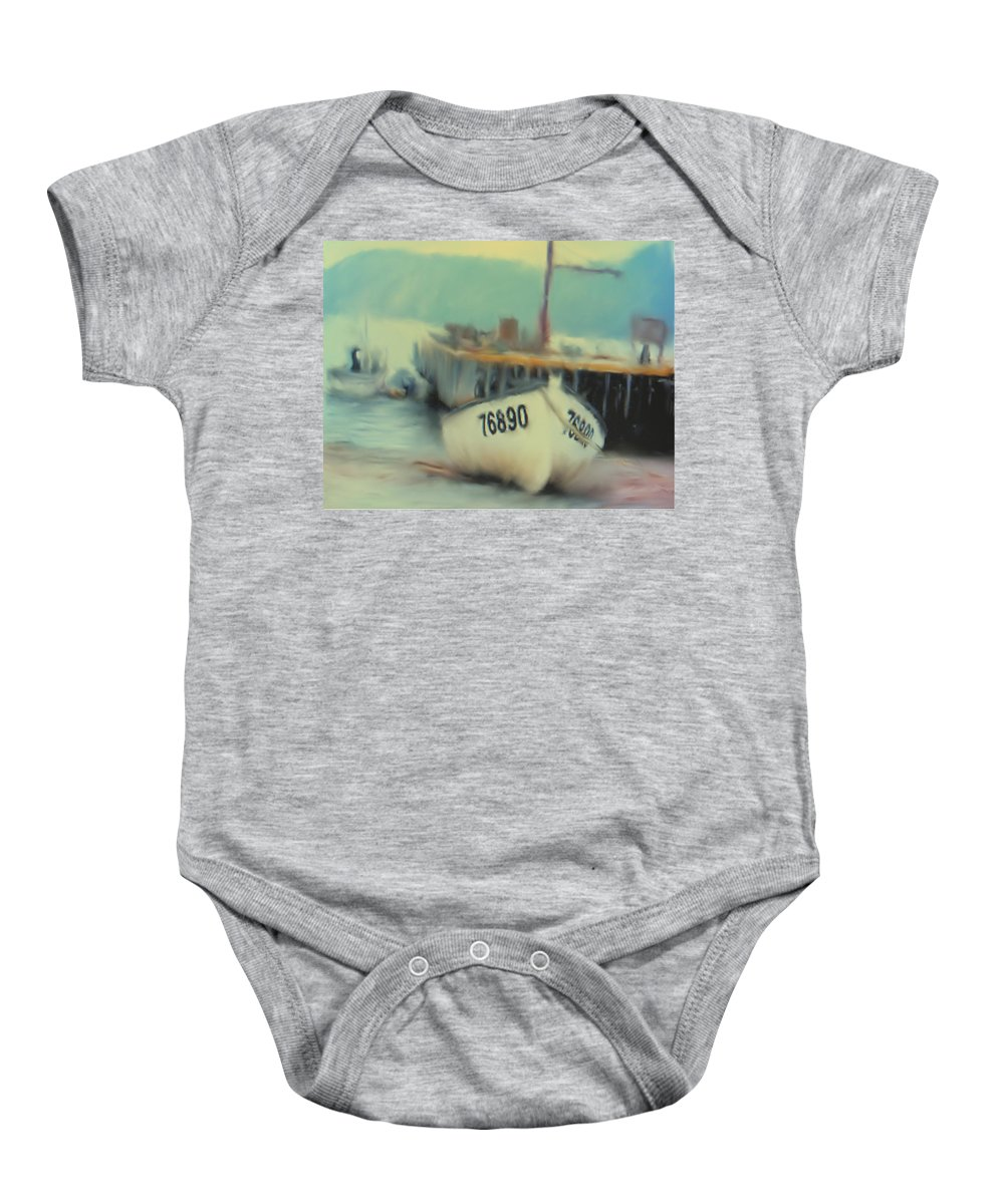 Newfoundland Baby Onesie featuring the digital art Newfoundland Fishing Port Impressions by Ian MacDonald