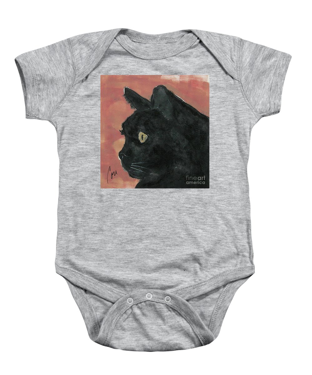 Cat Baby Onesie featuring the mixed media Night Vision by Cori Solomon