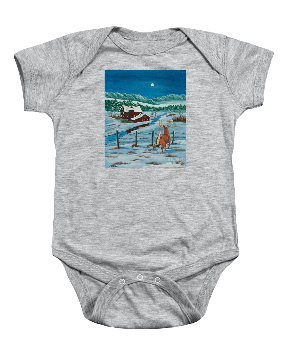 Deer Paintings Baby Onesie featuring the painting Night Watch by Charlotte Blanchard