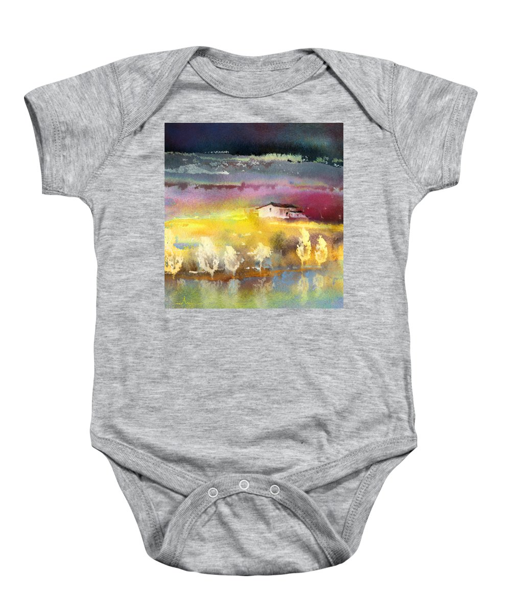 Watercolour Landscape Baby Onesie featuring the painting Nightfall 15 by Miki De Goodaboom