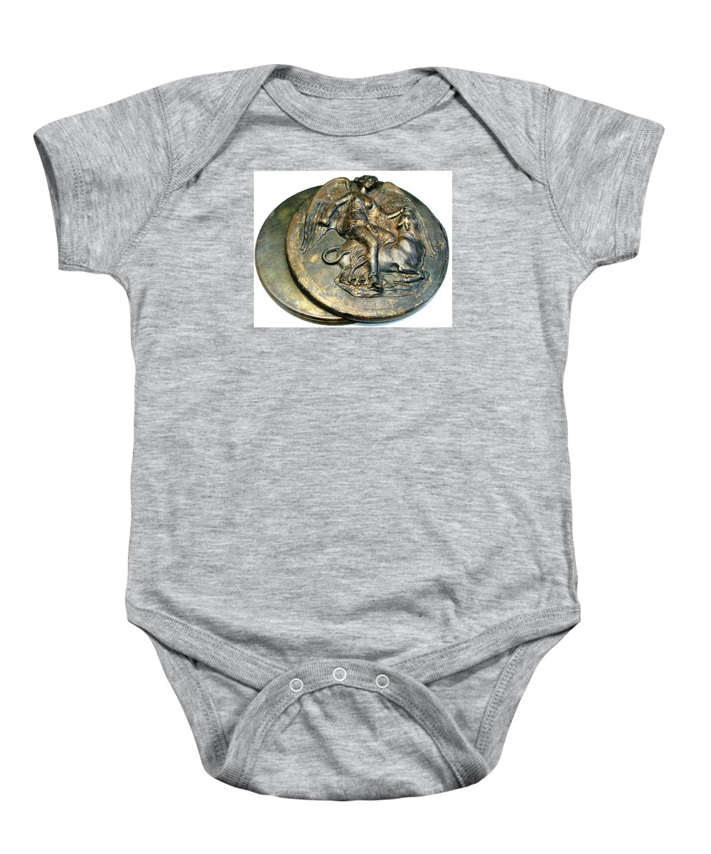 Nike Baby Onesie featuring the photograph Nike Slaying Bull by Andonis Katanos