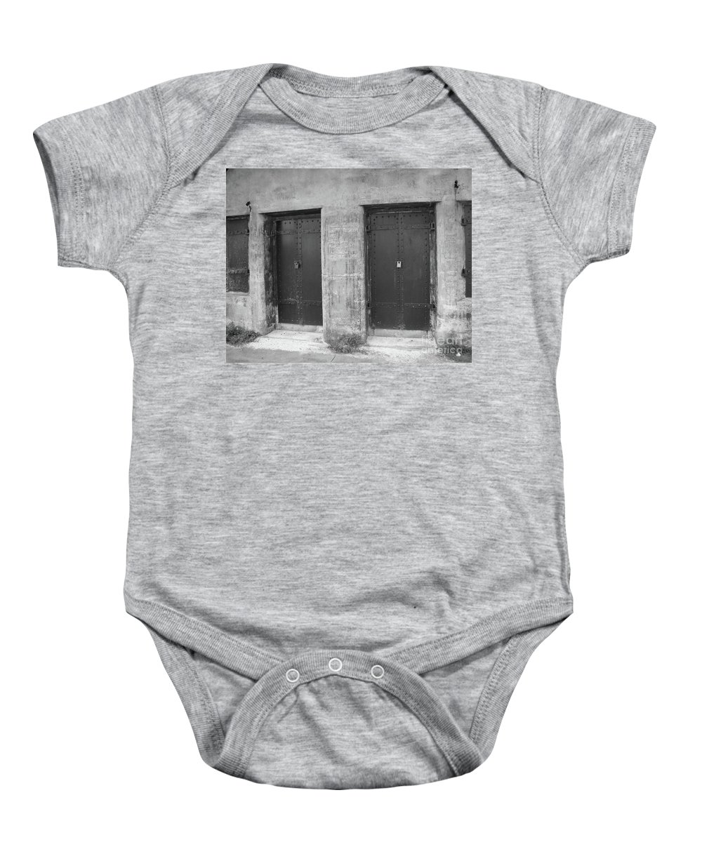 Black And White Baby Onesie featuring the photograph No Escape by Michelle Powell