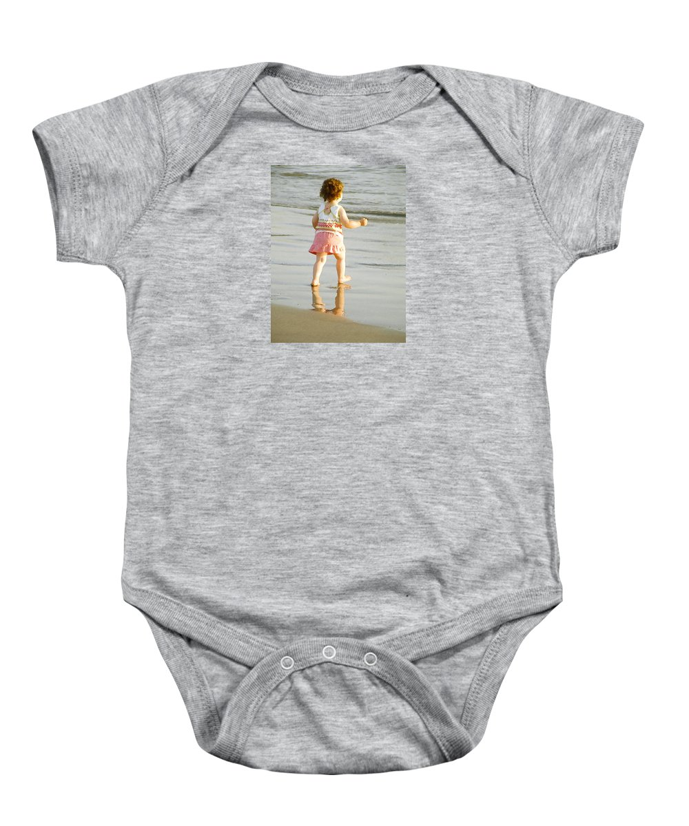 Beach Baby Onesie featuring the photograph No Fear by Margie Wildblood