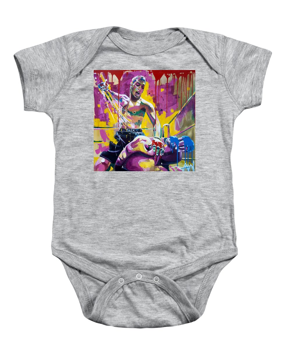 Mercy Baby Onesie featuring the painting No Mercy by Angie Wright