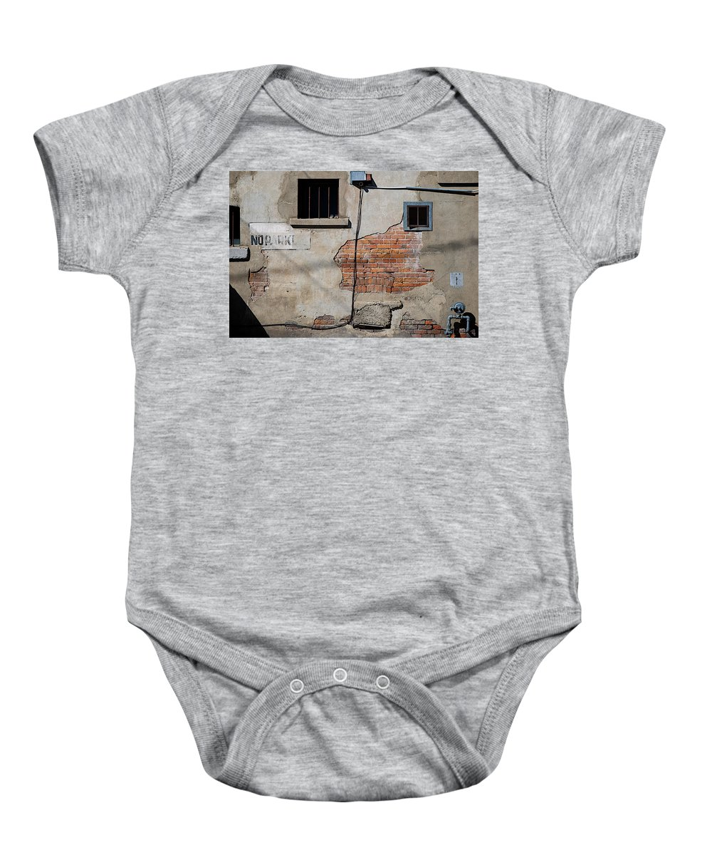 No Parking Baby Onesie featuring the photograph No Parking by Lisa Knechtel