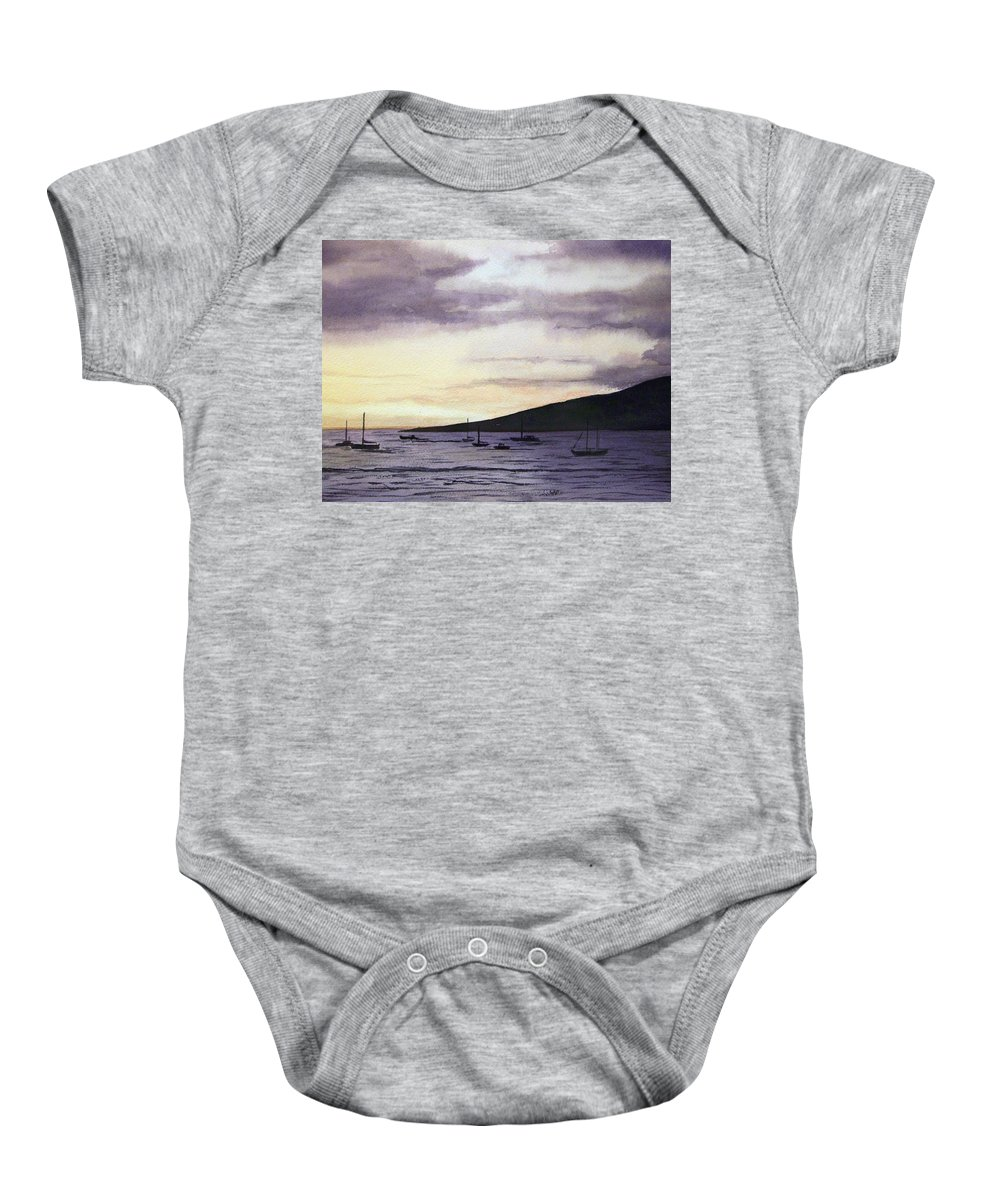 Seascape Baby Onesie featuring the painting No Safer Harbor Lahaina Hawaii by Brenda Owen