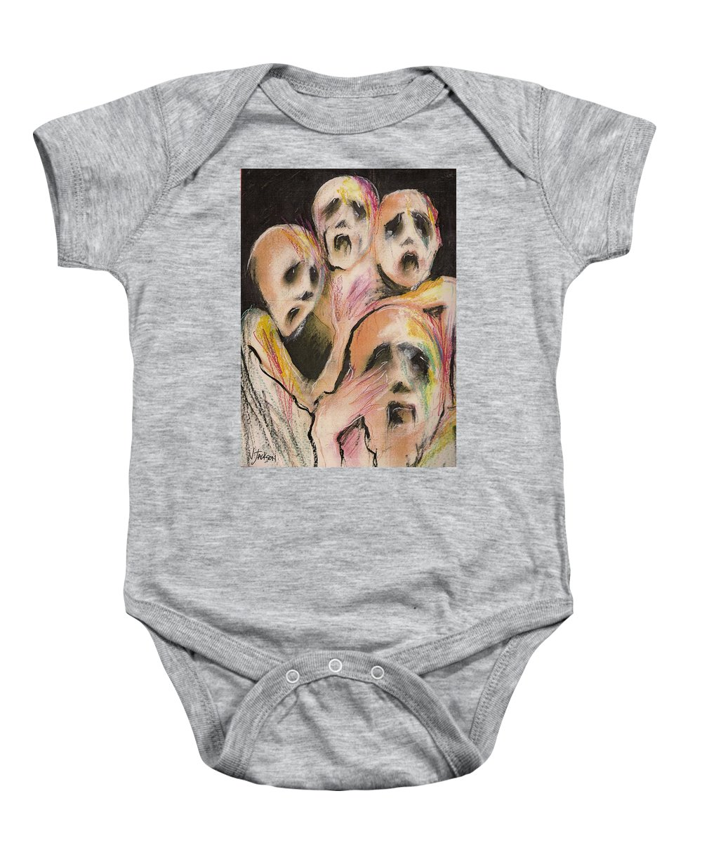 War Cry Tears Horror Fear Darkness Baby Onesie featuring the mixed media No Words by Veronica Jackson
