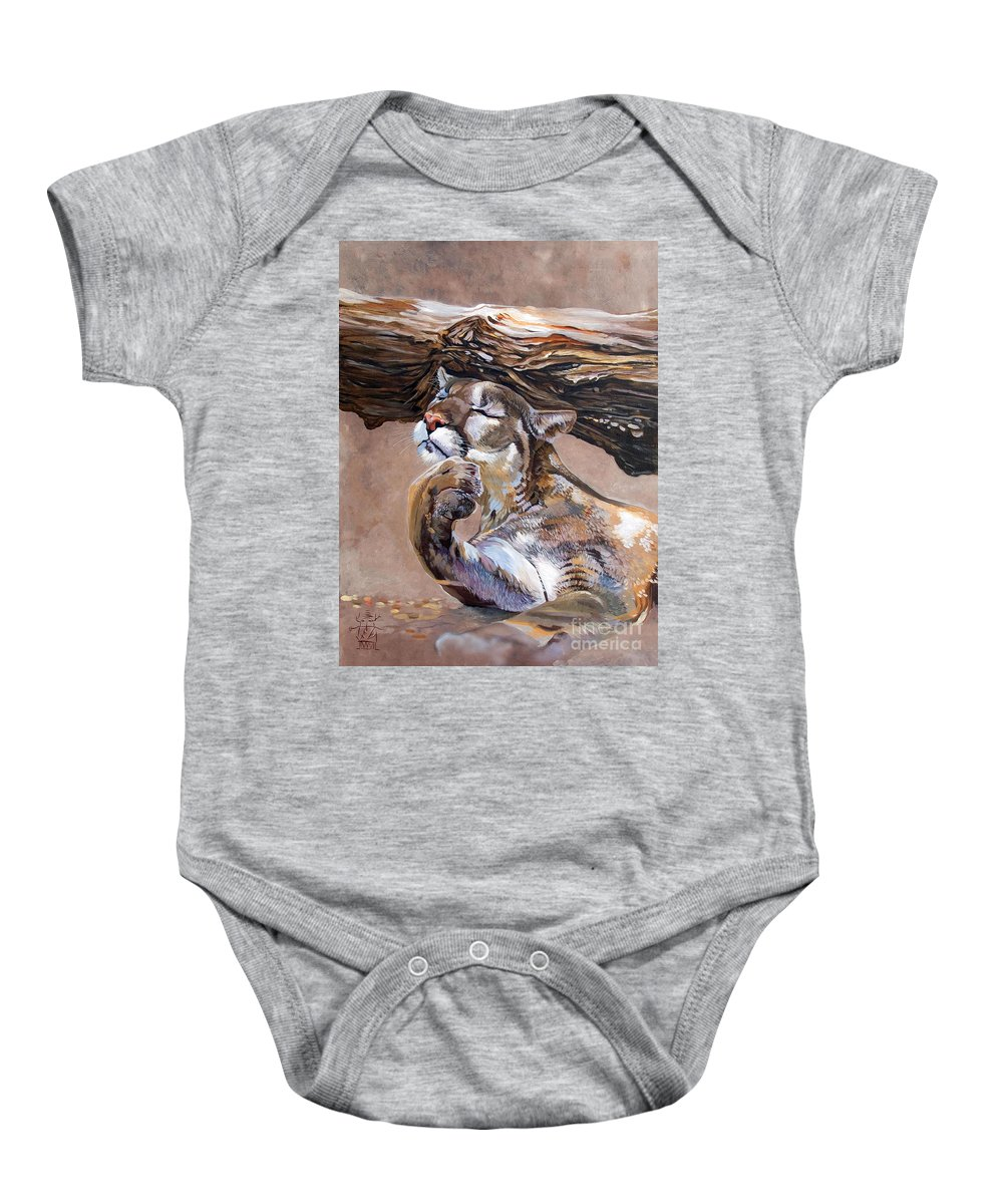 Catamount Baby Onesie featuring the painting Nonchalant by J W Baker