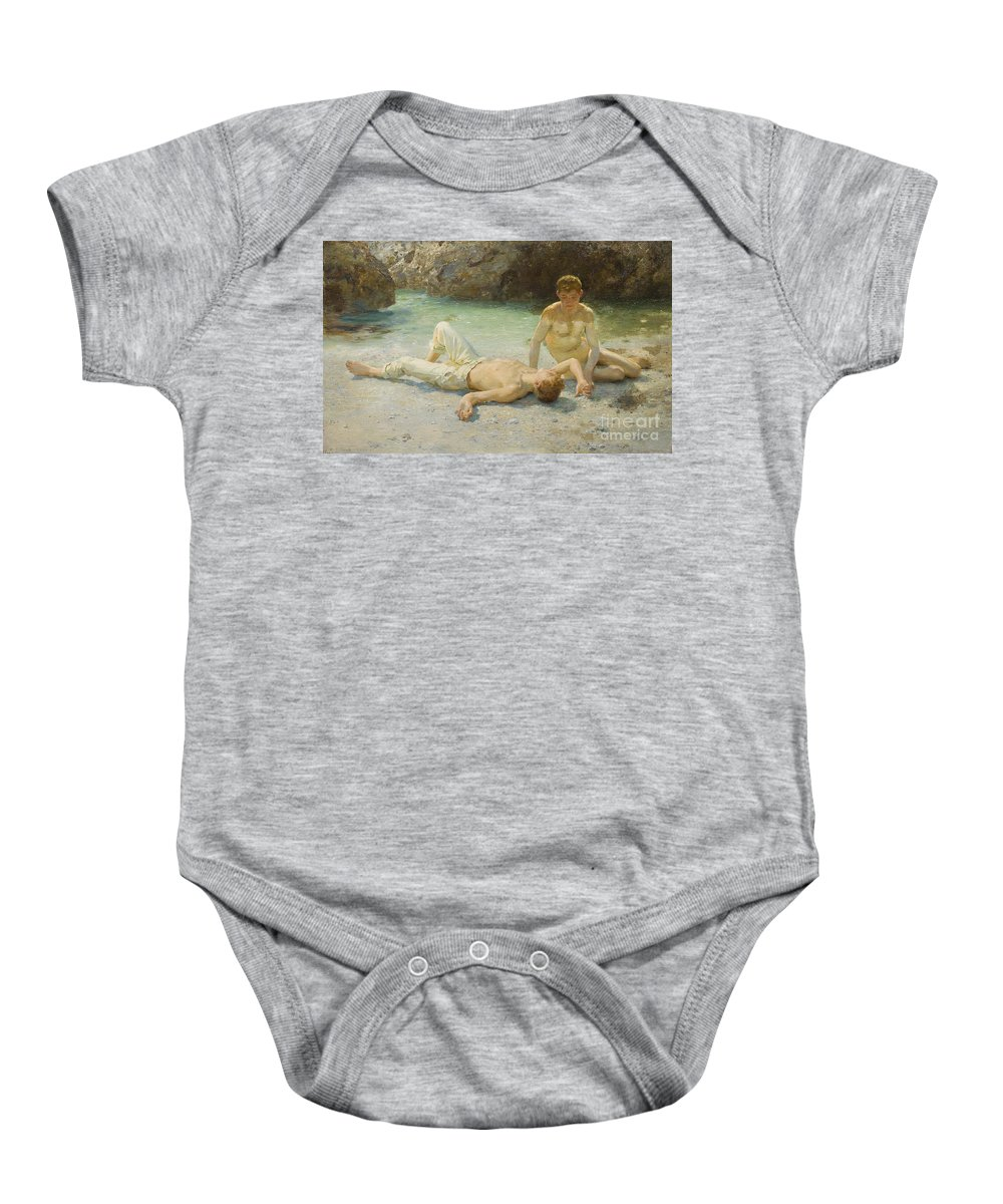 Boy; Boys; Nude; Lying; Lounging; Children; Youths; Youth; Innocent; Hot; Sun Bathing; Sunbathing; Sea; Beach; Coastal; Tanning; Tan; Coastal; Bather; Leisure; Homoerotic; Homosexual; Newlyn School Baby Onesie featuring the painting Noonday Heat by Henry Scott Tuke