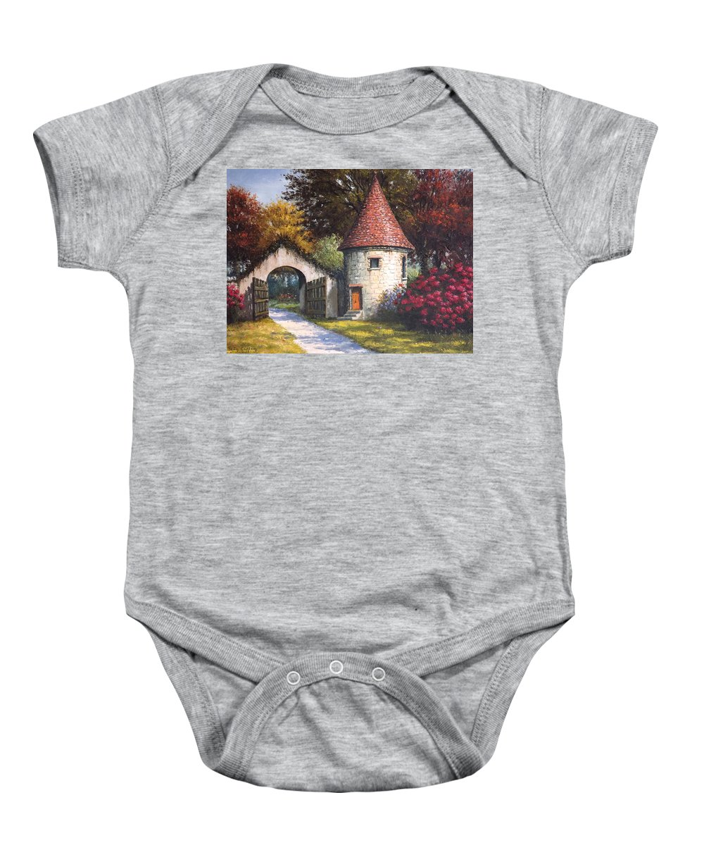 Landscape Baby Onesie featuring the painting Normandy Garden by Sean Conlon