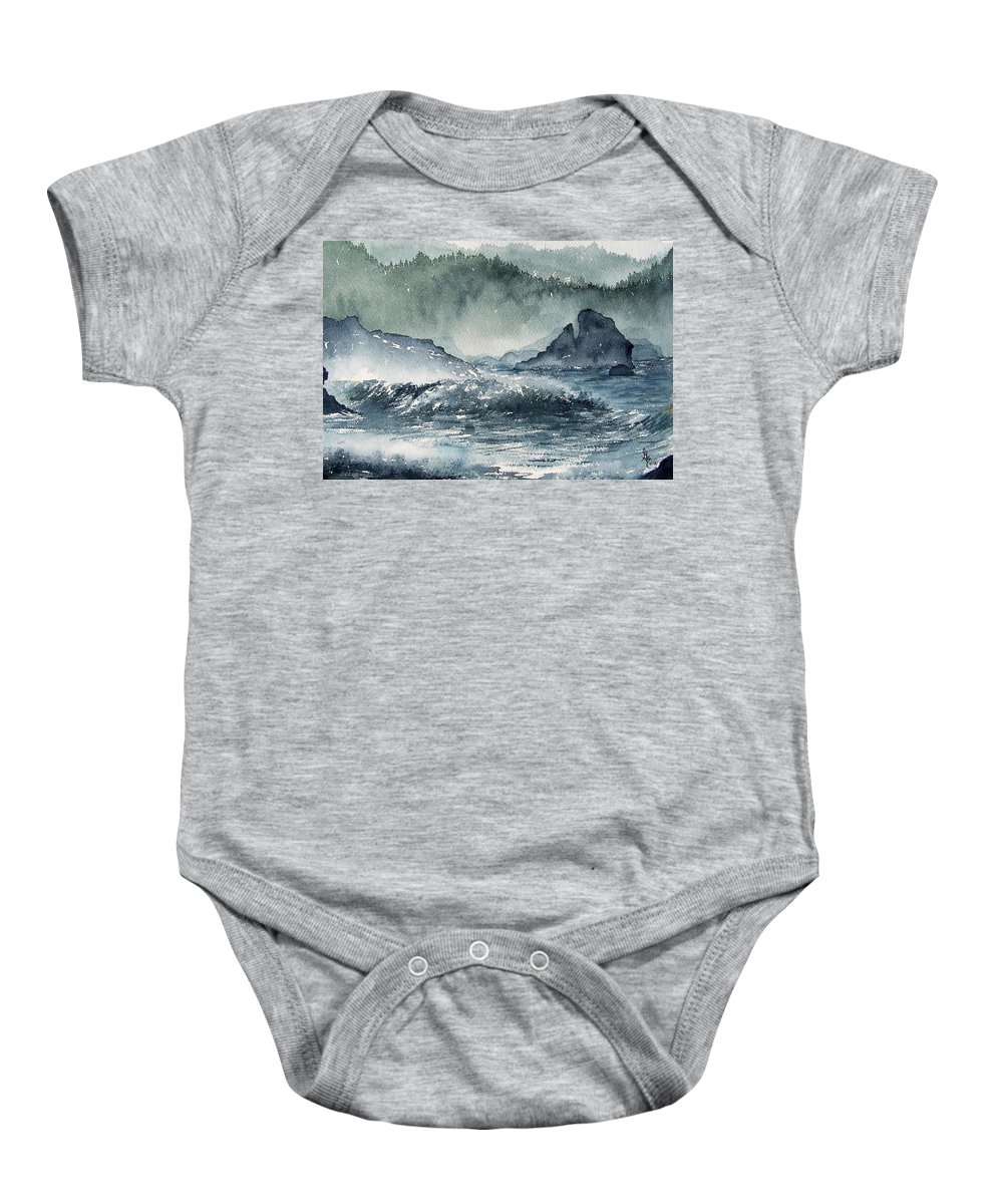 Ocean Baby Onesie featuring the painting Northern California Coast by Gale Cochran-Smith