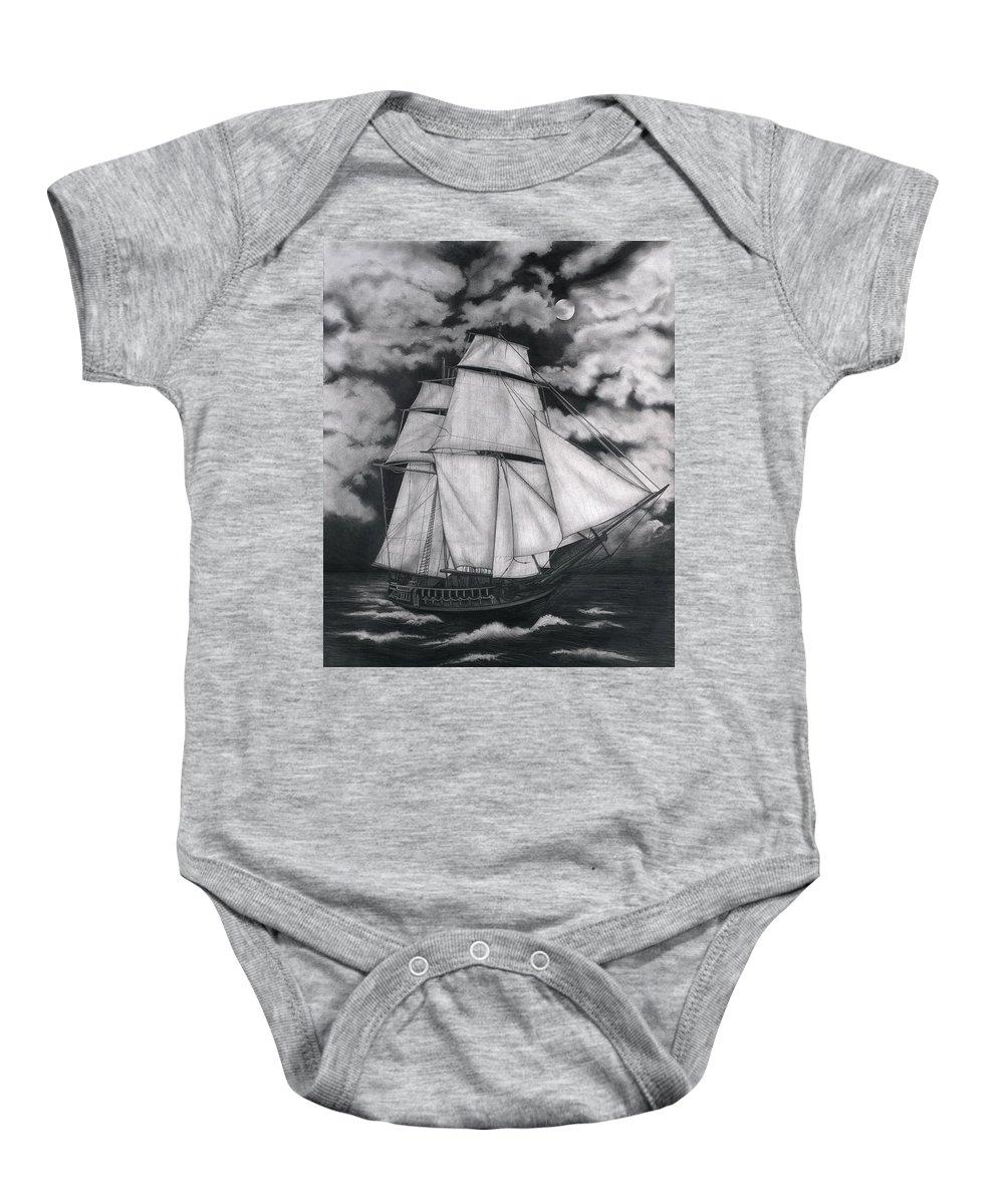 Ship Sailing Into The Northern Winds Baby Onesie featuring the drawing Northern Winds by Larry Lehman