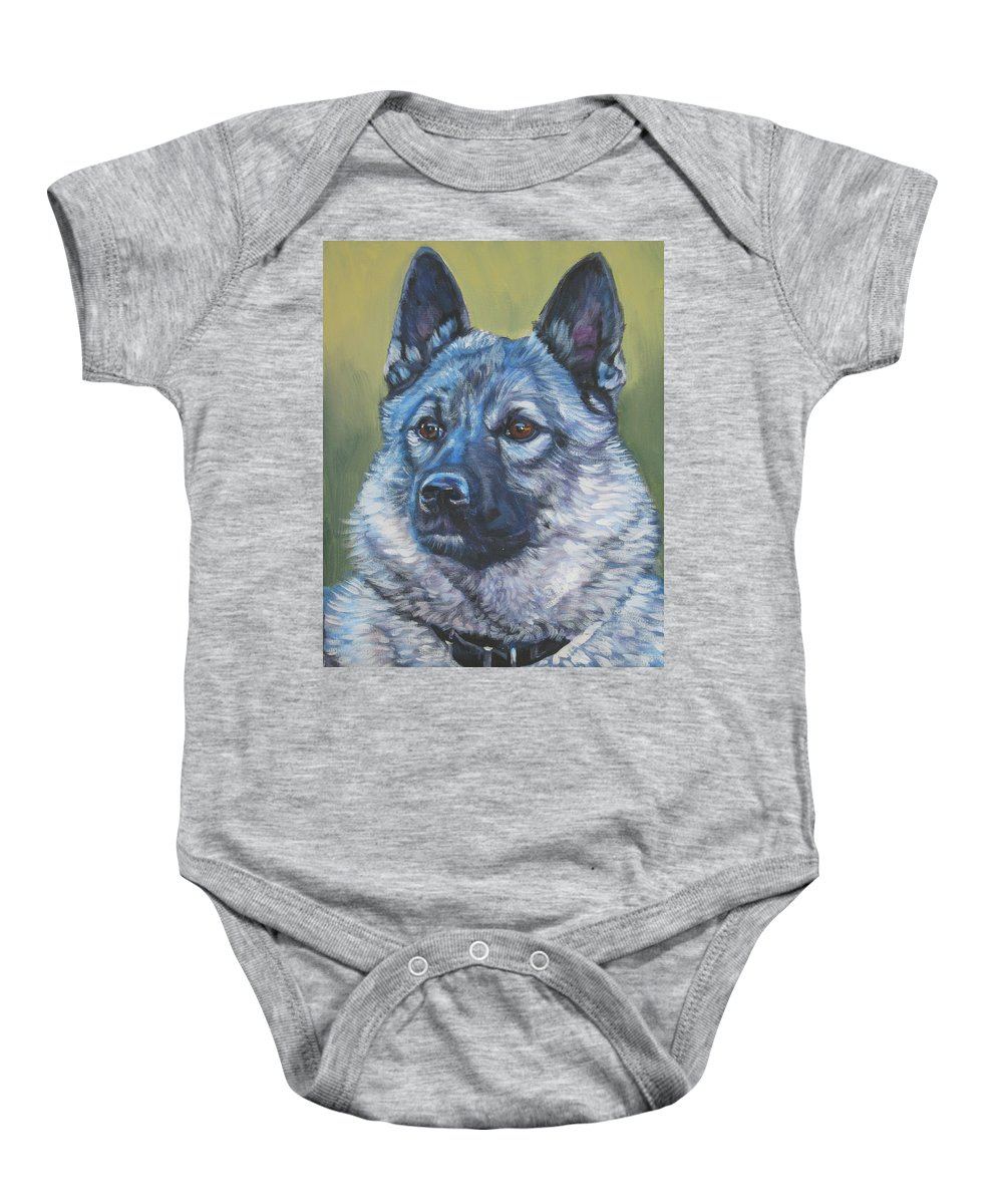 Norwegian Elkhound Baby Onesie featuring the painting Norwegian Elkhound by Lee Ann Shepard