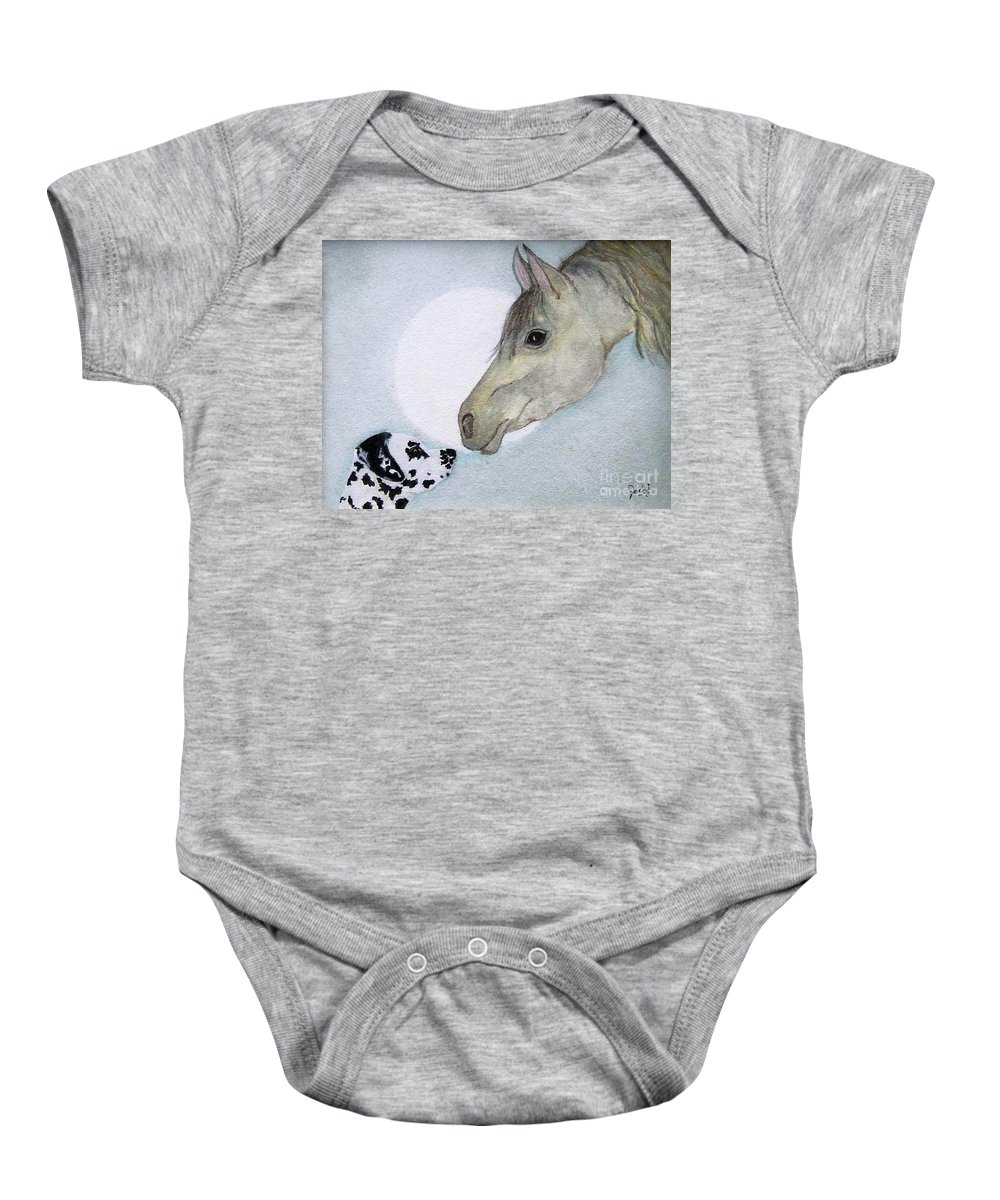 Dog Baby Onesie featuring the painting Nose 2 Nose by Jacki McGovern