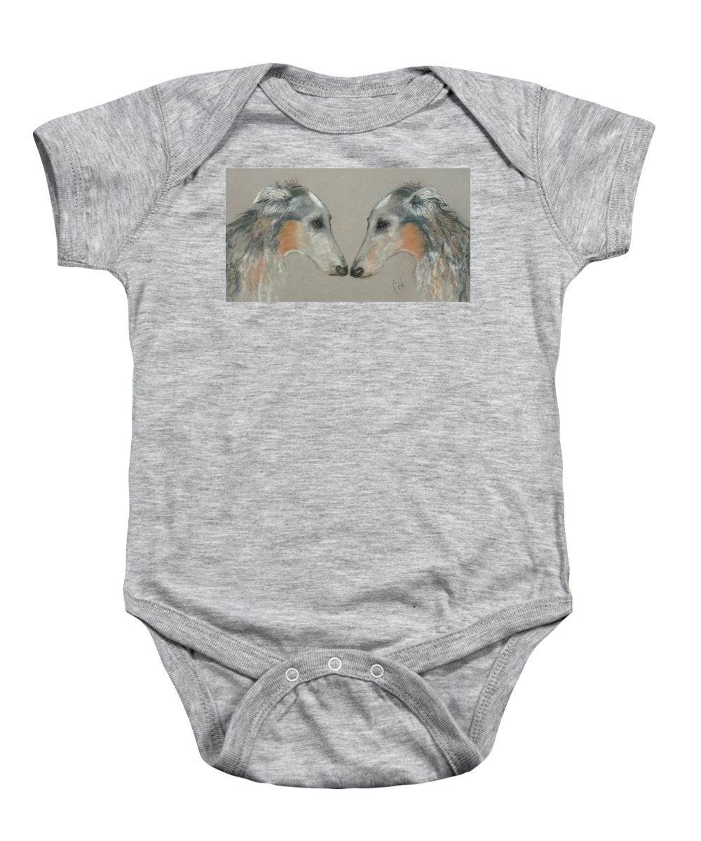 Dog Baby Onesie featuring the drawing Nose To Nose by Cori Solomon
