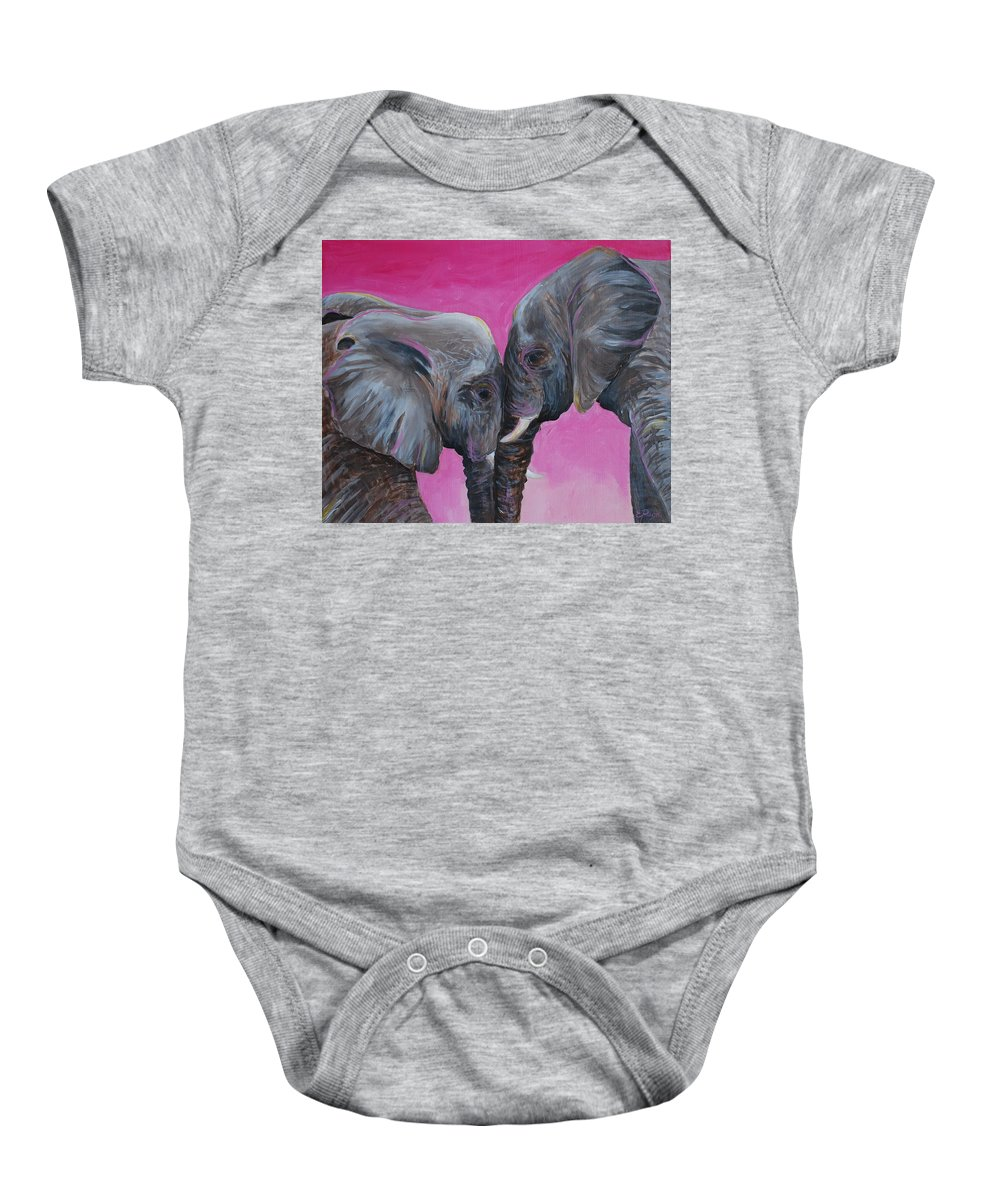 Elephant Baby Onesie featuring the painting Nose To Nose in Pink by Emily Page