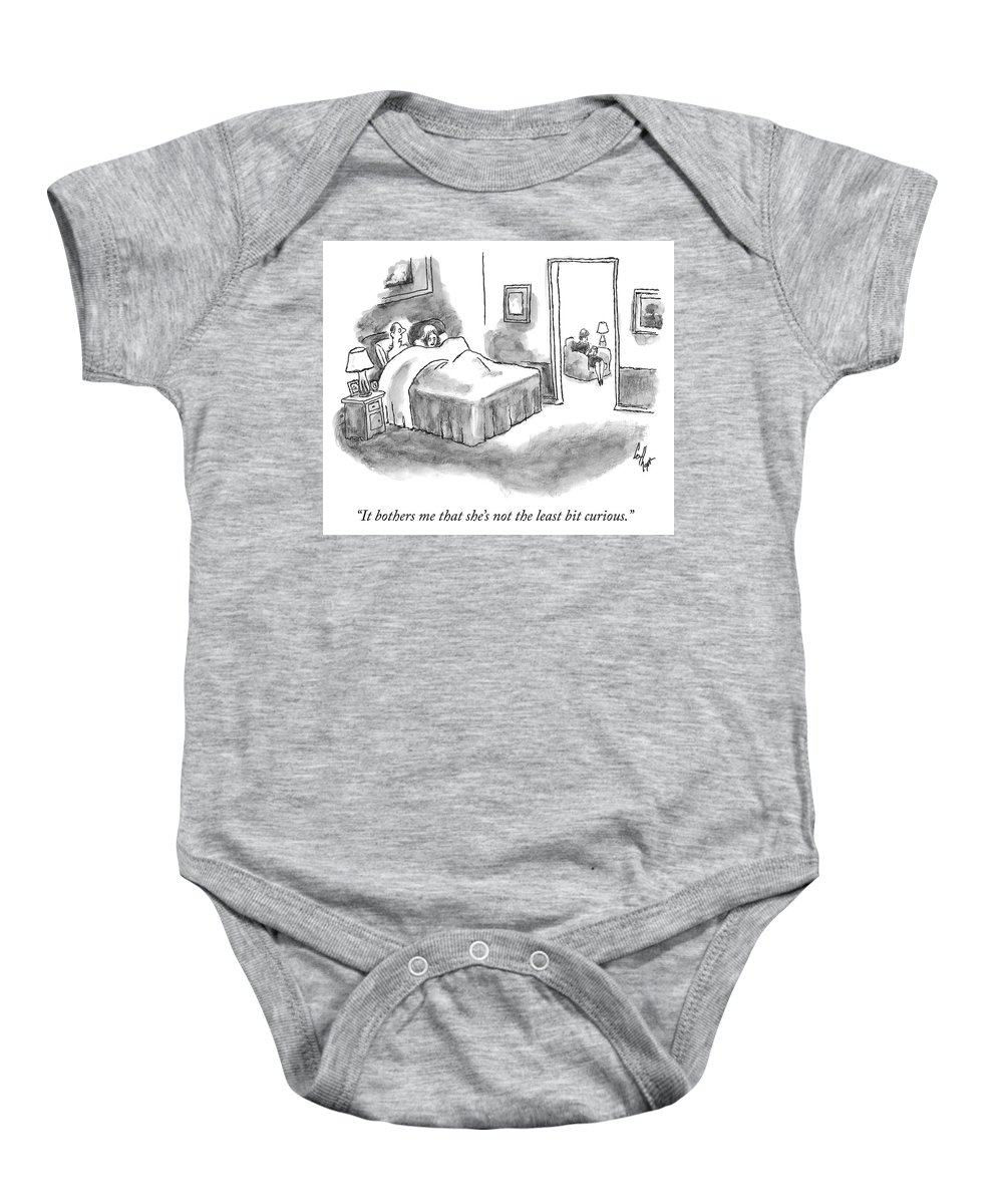 """4e9fe61fc8d2 """"it Bothers Me That She s Not The Least Bit Curious."""" Baby Onesie featuring"""