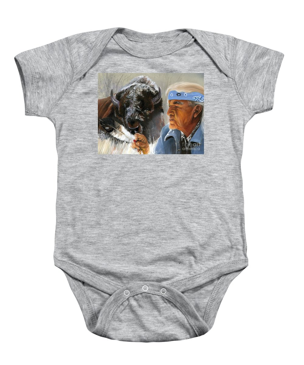 Southwest Art Baby Onesie featuring the painting Nothing Is Ever Forgotten by J W Baker