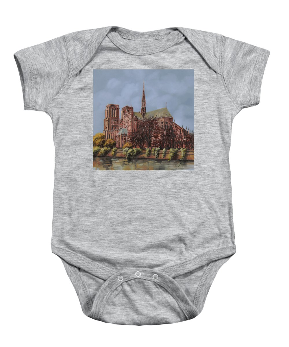 Paris Baby Onesie featuring the painting Notre-dame by Guido Borelli