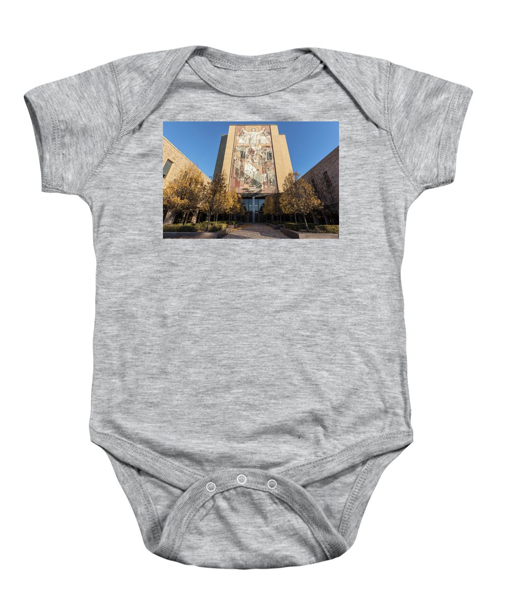 American University Baby Onesie featuring the photograph Notre Dame Library 2 by John McGraw