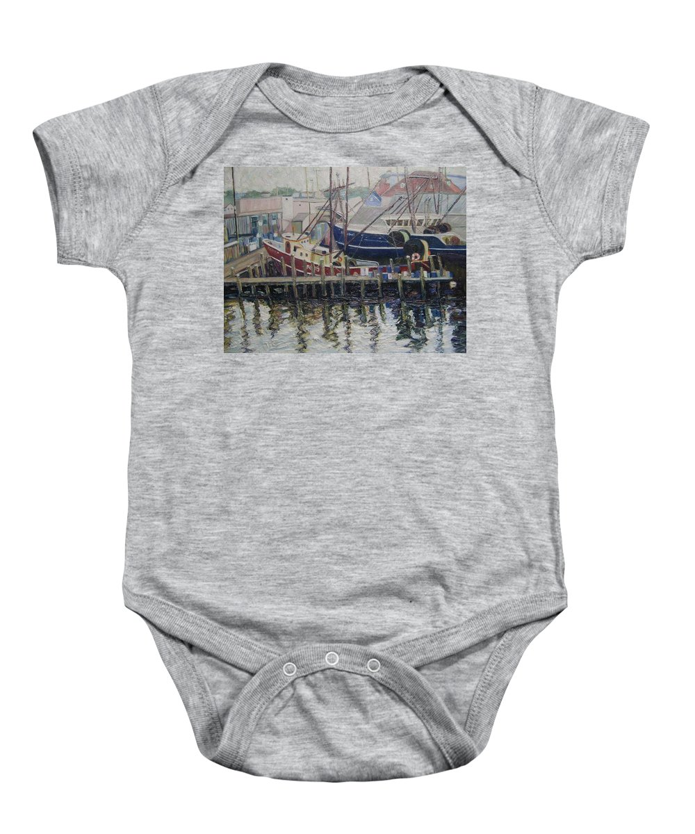 Boats Baby Onesie featuring the painting Nova Scotia Boats At Rest by Richard Nowak